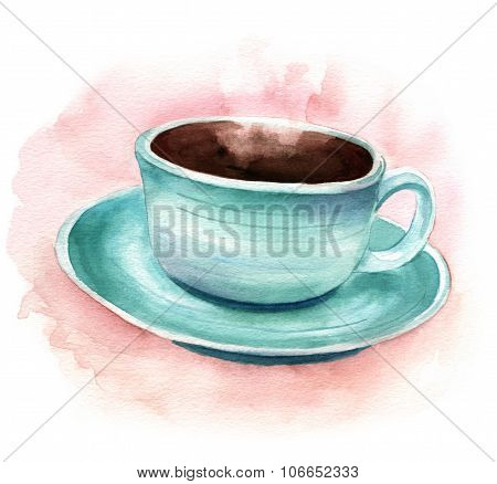 Vintage Styled Watercolor Drawing Of A Cup Of Coffee