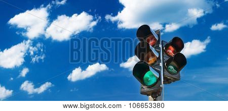 Traffic lights on sunny day