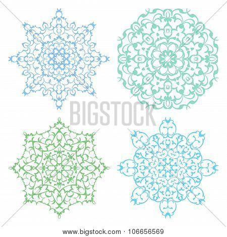 Set Of Four Cold Color Lacy Mandalas