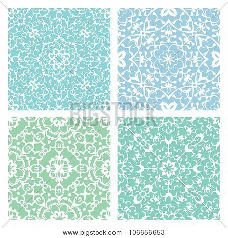 Set Of Four Cold Color Lacy Seamless Eastern Patterns
