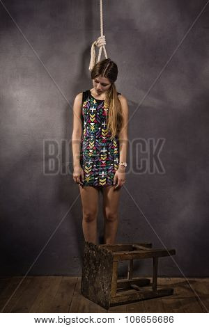 Young Caucasian Hanged Woman