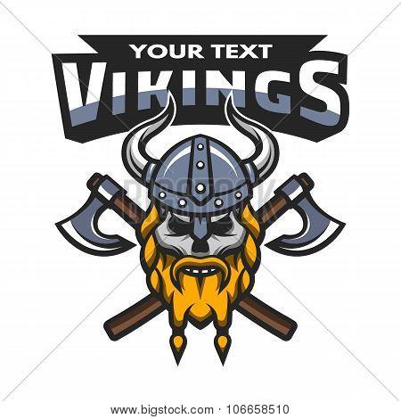 Viking warrior skull, label, emblem.