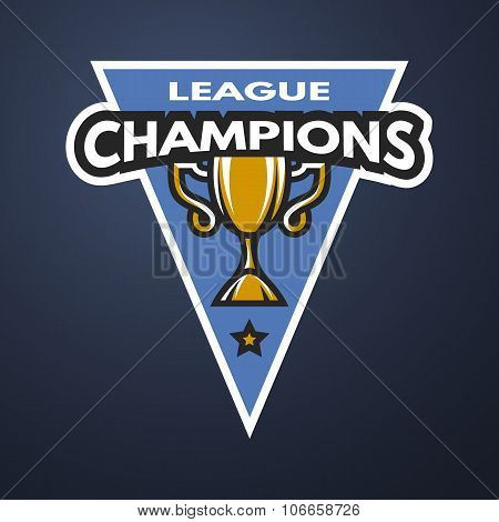 Champion sports league logo, emblem, badge on a dark background. poster