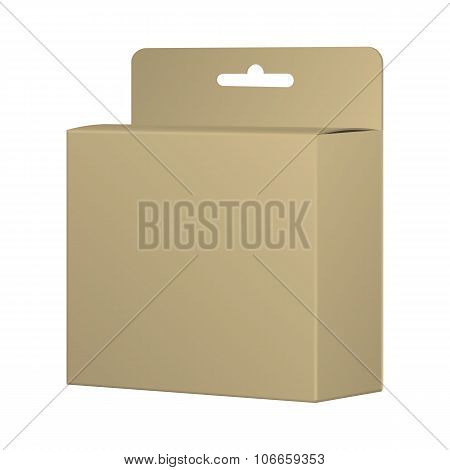 Realistic Recycled Card Product Package Box Mockup With Hang Slot. Blank Container, Packaging Template. Vector. poster
