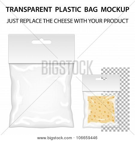 Transparent Plastic Bag Mockup Ready For Your Design. Blank Pack