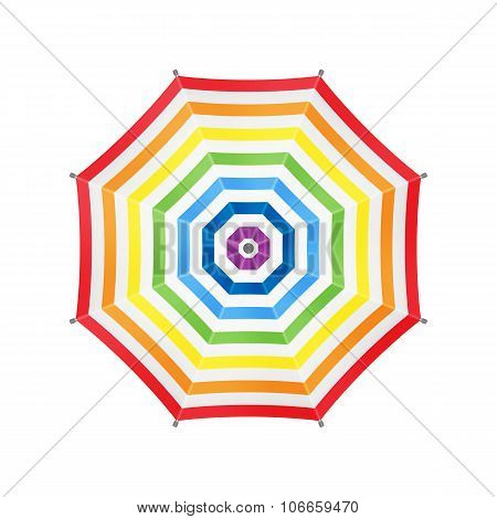 White Umbrella With Rainbow Stripes. Top View. Template For Your