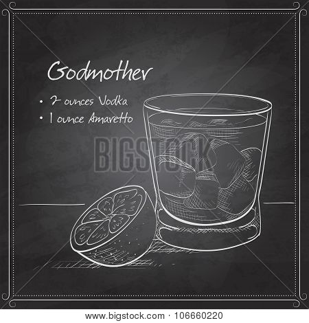Alcoholic Cocktail Godmother on black board