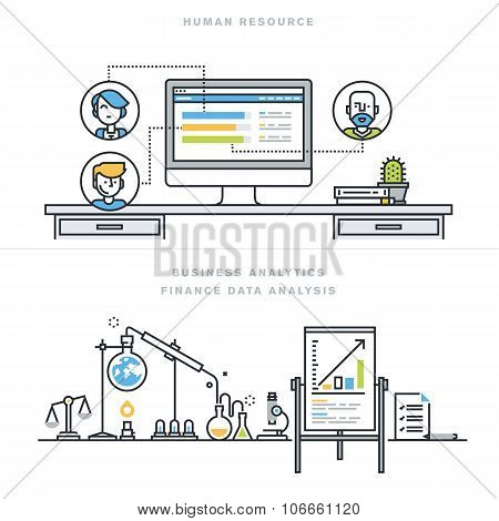 Flat line design vector illustration concepts for human resources and business analytics