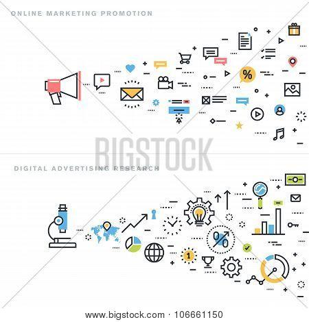 Flat line design vector illustration concepts for digital marketing