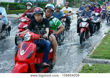 Flooded Road, Flood Tide, Motorbike, City