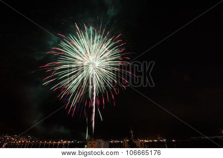 Fireworks over the city of Hakodate on National Foundation Day of Japan - 11th February