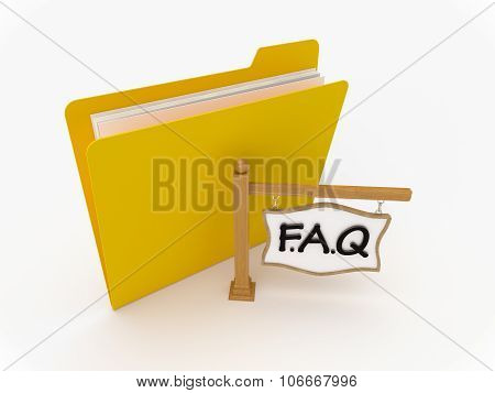 Yellow Folder With Wooden Signpost Faq