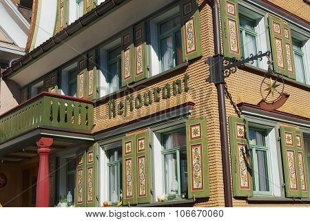 Exterior of the traditional Swiss Appenzell building in Appenzell, Switzerland.