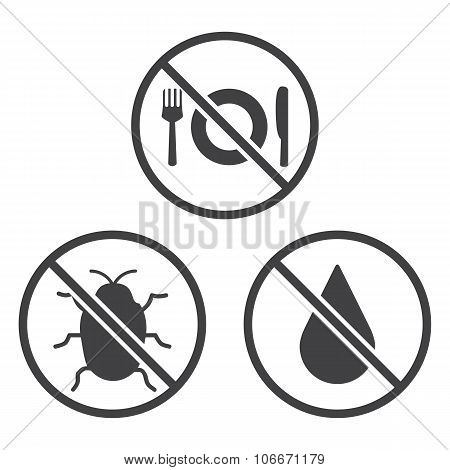 Do not Eat, Bug and Wet icons. Vector