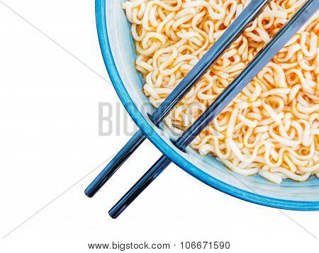 Above view of spicy instant noodles inblue bowl with chopsticks isolated on white background poster