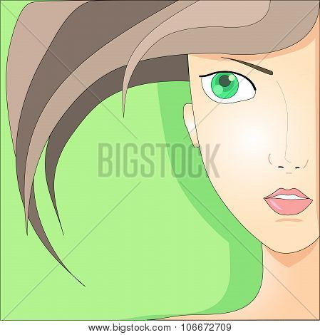 Portrait of the girl with green eyes