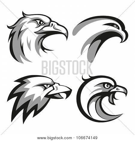 Black and grey eagle head logos set for business or shirt design
