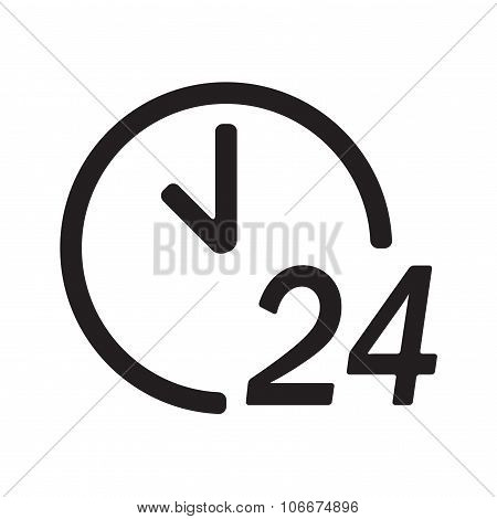 24 hours a day icon or sign isolated on white background. Round the clock support symbol. Vector ill
