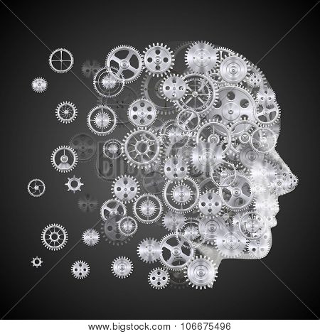 Head of gears on a black background