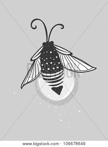 Hand-drawn cute cartoon firefly bug design.