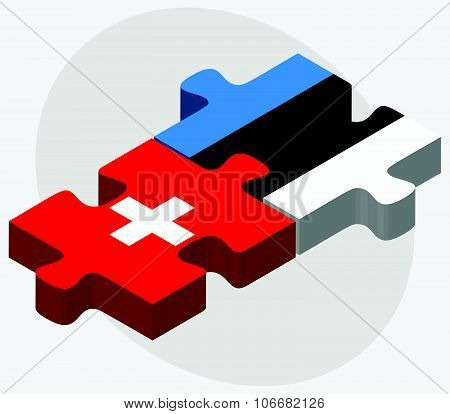 Switzerland and Estonia Flags in puzzle isolated on white background poster