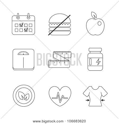Healthy Fitness Diet Icons Linear Set