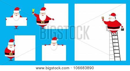 Vector Set Design Elements Funny Santa Claus Different Character As Painter And Showman Isolated On
