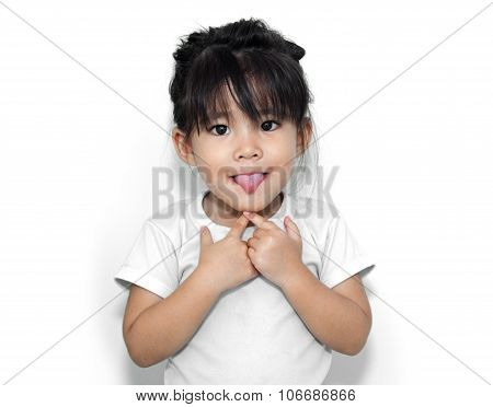 Cute Girl Show Funny Face