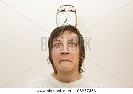 Mechanical Alarm Clock  Stand On Head Funny White Man