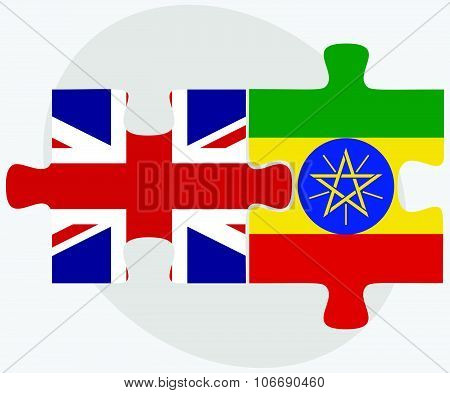 United Kingdom and Ethiopia Flags in puzzle isolated on white background poster