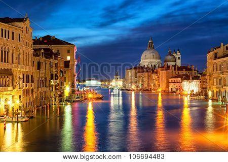 The Grand Canal And Santa Maria Della Salute Basilica, Venice, Italy, At Night