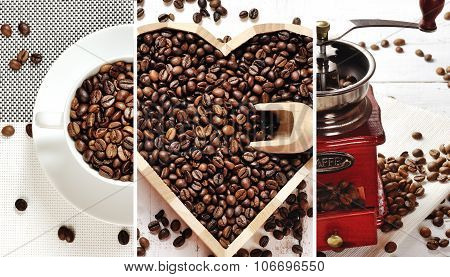coffee collage - coffee beans in a white cup heart of coffee coffee grinder poster