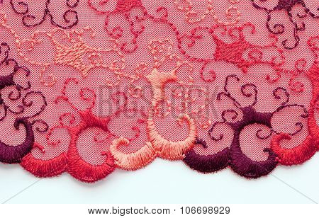 The Macro Shot Of The Red And Orange Lace Texture Materia