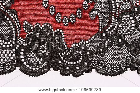 The Macro Shot Of The Red And Black Lace Texture Materia