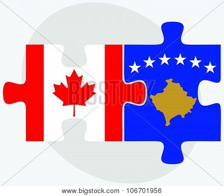 Canada and Kosovo Flags in puzzle isolated on white background poster