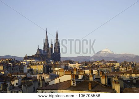 Roof Top View Of City Center And Volcano Puy De Dome In Clermont Ferrand