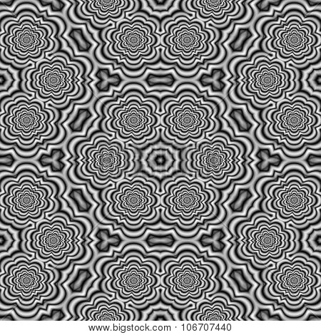 Abstract black white hexagonal floral seamless pattern