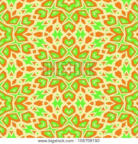 Stylized oriental floral orange green seamless pattern