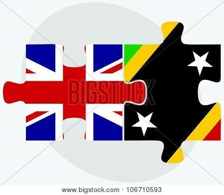 United Kingdom and Saint Kitts and Nevis Flags in puzzle isolated on white background poster