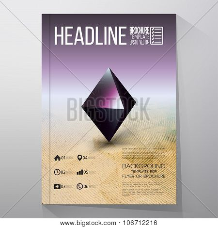 Business templates for brochure, flyer or booklet. Abstract geometric shape, scientific graphic desi