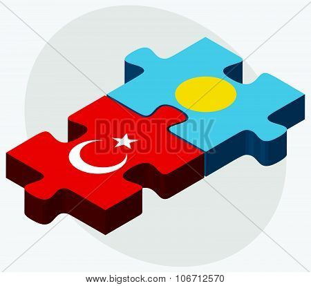 Turkey and Palau Flags in puzzle isolated on white background poster