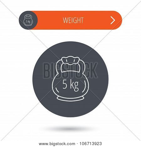 Weight icon. Weightlifting barbell sign. Power fitness symbol. Gray flat circle button. Orange button with arrow. poster