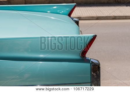Closeup Of Legendary Classic Car In Retro Turquoise Color