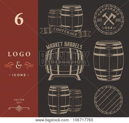 Vector Set And Logos Cooperage Workshops