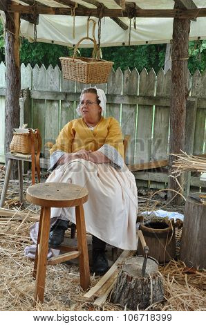 Basketmaker in Colonial Williamsburg in Virginia