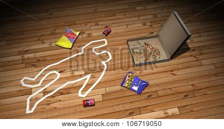 Illustration of an outline of a body Killed by Junk Food