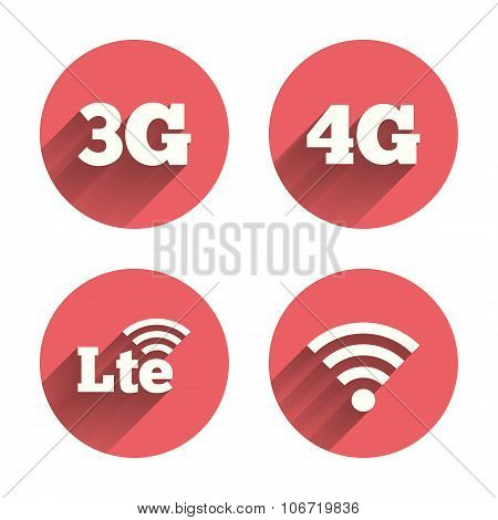 Mobile telecommunications icons. 3G, 4G and LTE technology symbols. Wi-fi Wireless and Long-Term evolution signs. Pink circles flat buttons with shadow. Vector poster