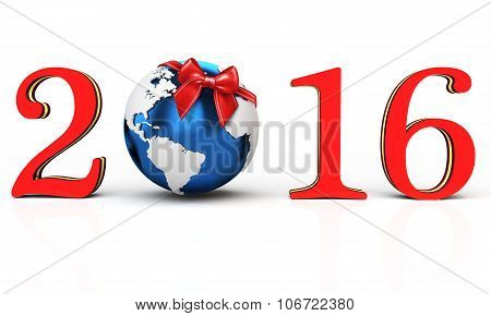 3D Happy New Year 2016 Earth Globe