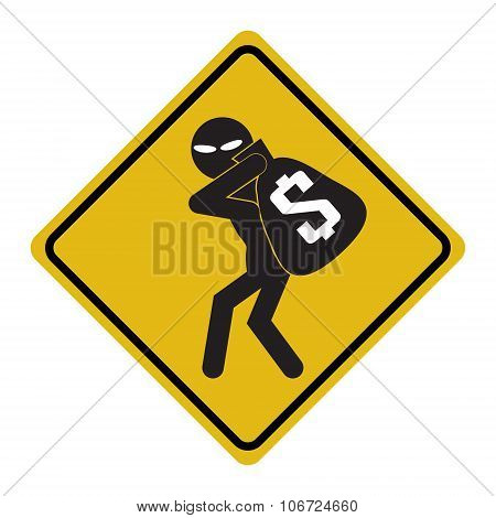 Beware Pickpocket Sign, Thief Icon Illustration