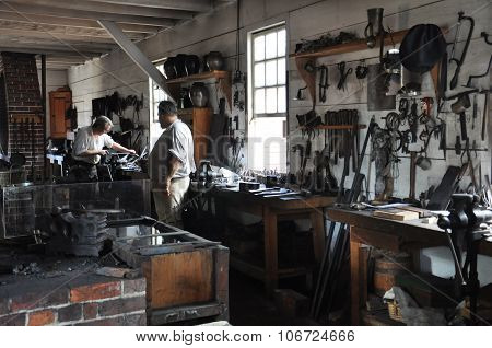 Blacksmith in Colonial Williamsburg in Virginia
